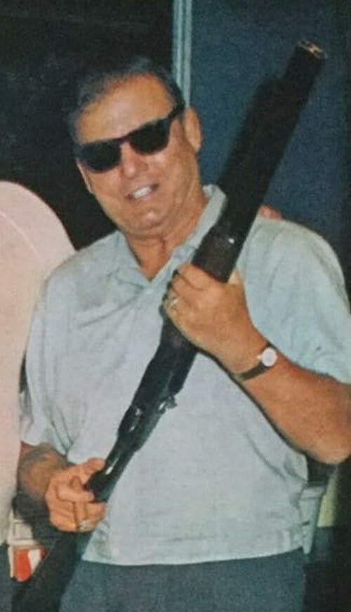 Former wrestler/promoter Leroy McGuirk with his gun.