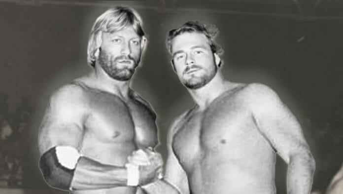 Paul Orndorff and B. Brian Blair early in their professional wrestling careers.