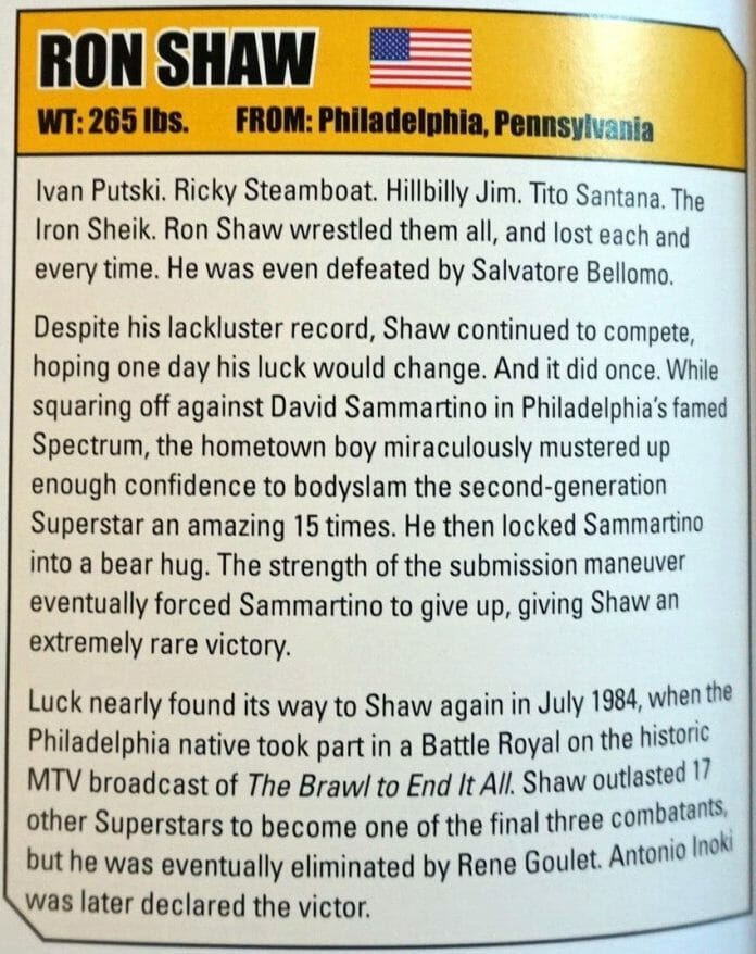 Ron Shaw submission in the book 'WWE History of the Last 50 Years'