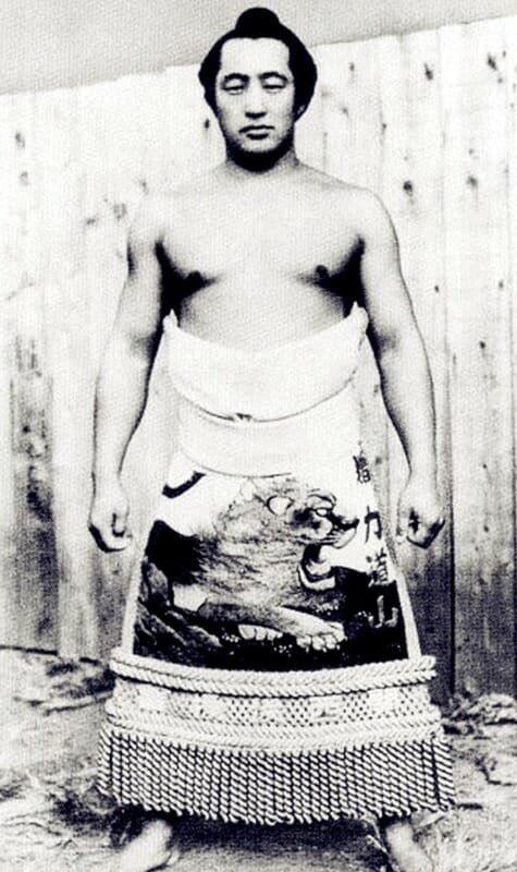 A young Rikidozan, then known as Minosuke Momota, during his sumo wrestling years.