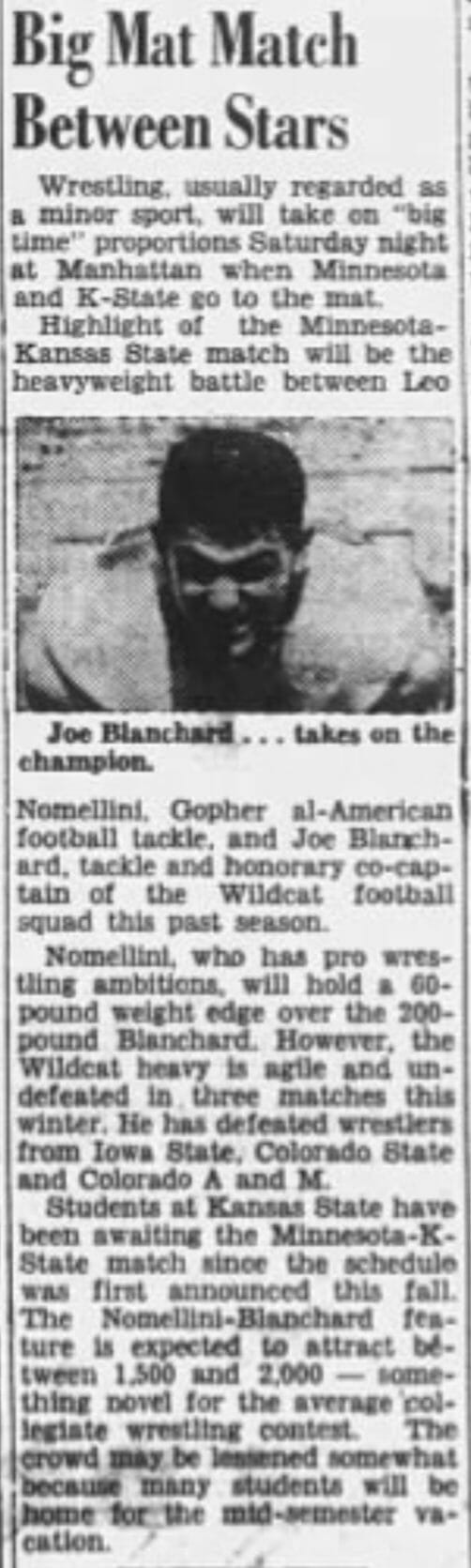 Newspaper article promoting a college wrestling match between Joe Blanchard and All-American football player Leo Nomellini. (The Manhattan Mercury, Thursday, January 26, 1950 edition)