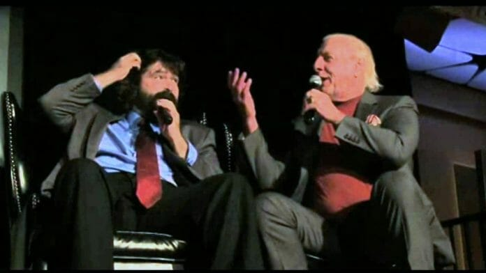 Mick Foley and Ric Flair 2013 at the WWE 2K14 legends panel