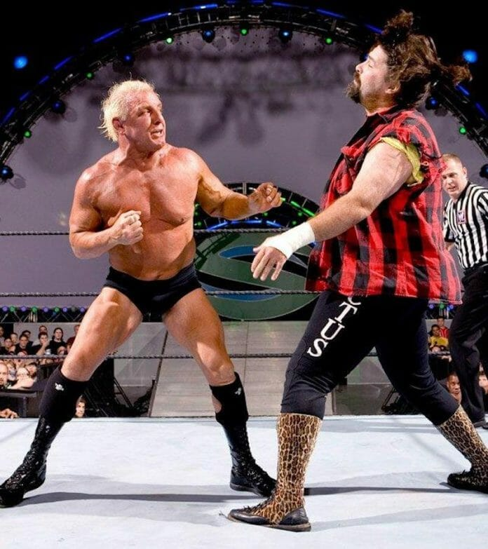 Ric Flair throws some jabs at Mick Foley at WWE SummerSlam 2006.
