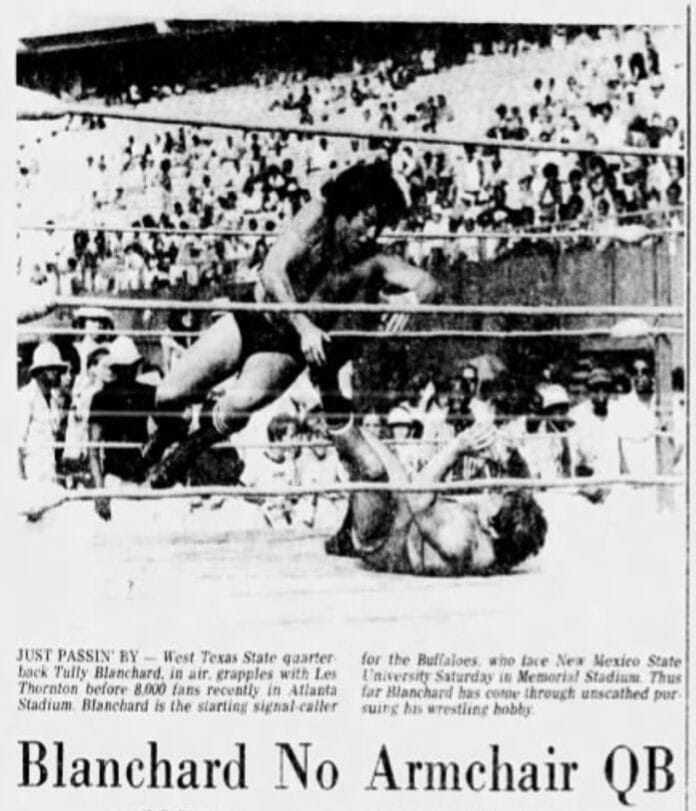 One of the first newspaper articles to feature Tully Blanchard wrestling during his college years. (The El Paso Times, Friday, November 19, 1976 edition)