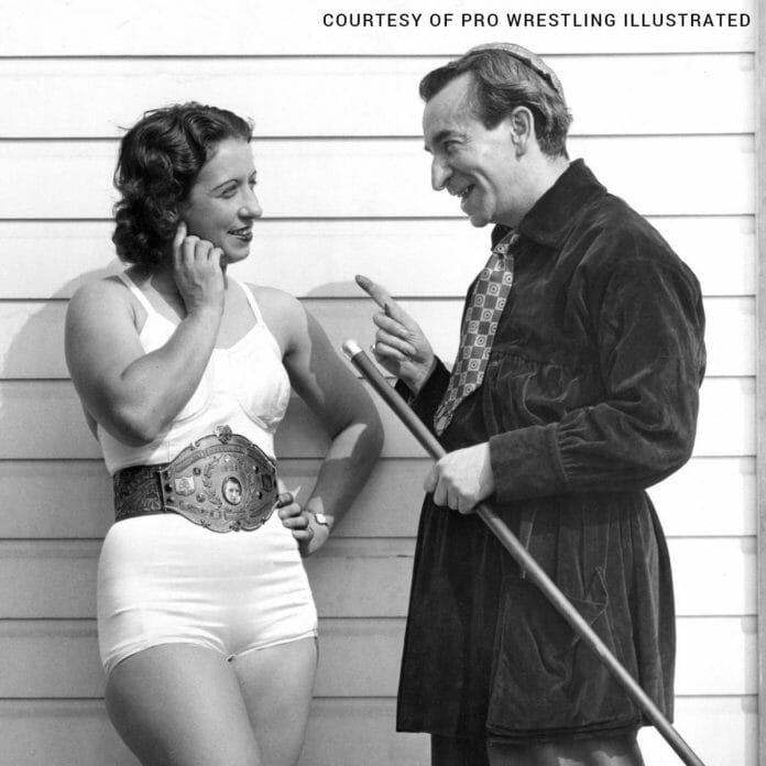 Mildred Burke inspired The Fabulous Moolah to become a pro wrestler. Here Burke is seen with promoter Jack Pfefer, a notable figure in wrestling who eventually helped Ellison in her career.