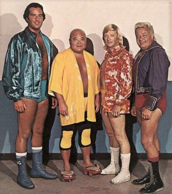 George Gulas on the far left (son of promoter Nick Gulas) is seen here pictured with the three people who are suspected to have been involved in the attack on Jack Donovan. To his right are Tojo Yamamoto, Jerry Jarrett, and Jackie Fargo.