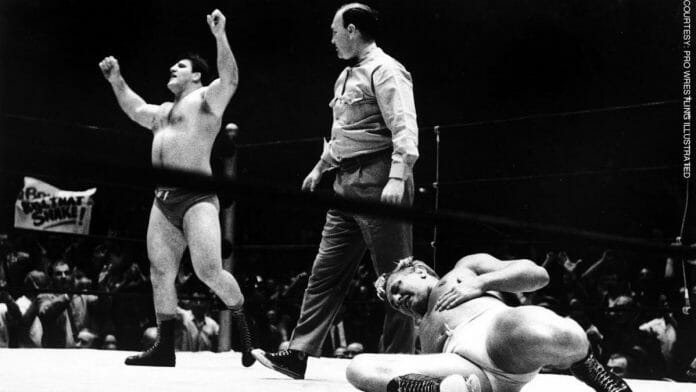 Bruno Sammartino wins the WWWF Championship for the very first time after defeating Buddy Rogers in just 48 seconds at Madison Square Garden on May 17, 1963. [Photo: Pro Wrestling Illustrated]