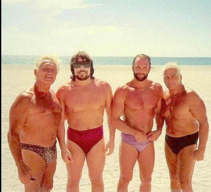 A day on the beach with 'Nature Boy' Buddy Rogers. Even the Macho Man was marking out! The man Randy is standing next to is Stormin' Norman Schwartzkopf.