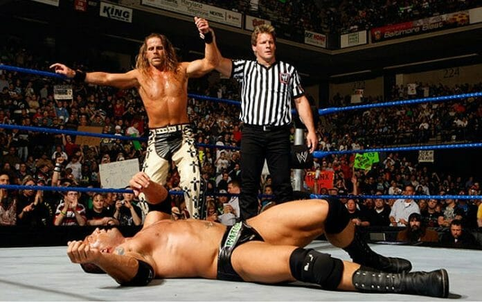Shawn Michaels feigned an injury to secure a victory over Batista at Backlash 2008. Chris Jericho served as guest referee.