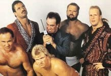 The Dangerous Alliance - Larry Zbyszko, Rick Rude, Bobby Eaton, Paul E. Dangerously (Paul Heyman), Arn Anderson, and Stunning Steve Austin