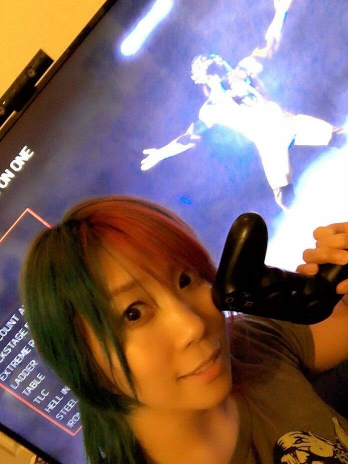 Asuka playing WWE 2K17