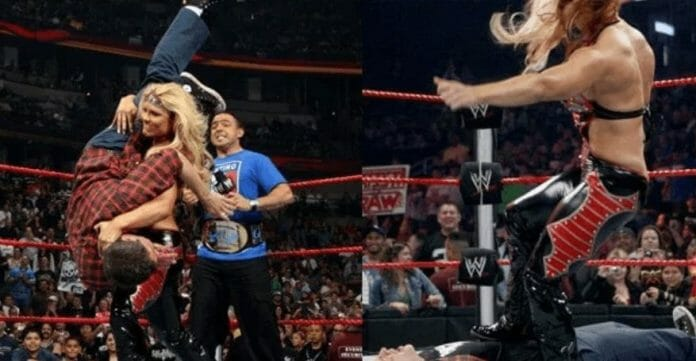 Beth Phoenix dishes out some pain to Johnny Knoxville from Jackass.