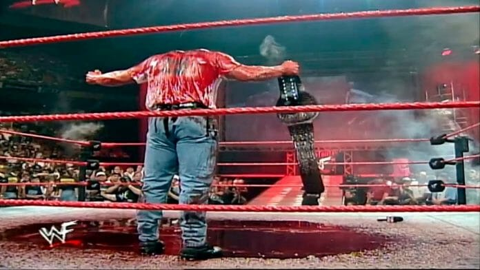 Blood and guts. A 'Stone Cold' Steve Austin bloodbath courtesy of Kane! | Nostalgic Wrestling Photos