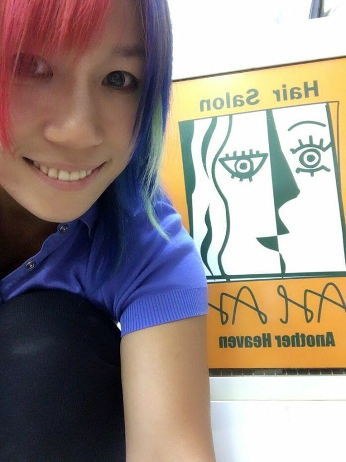 Asuka visits her hair salon 'Another Heaven' in Yokohama, Japan.