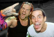 Steve-O from Jackass hanging out backstage with Jeff Hardy.