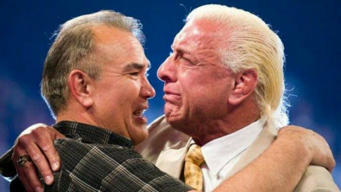 A more recent photo of Ricky Steamboat and Ric Flair emotionally embracing.
