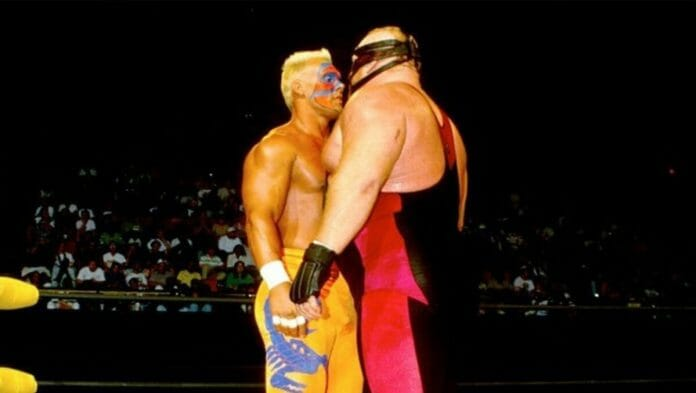 Sting stands up to Vader in WCW