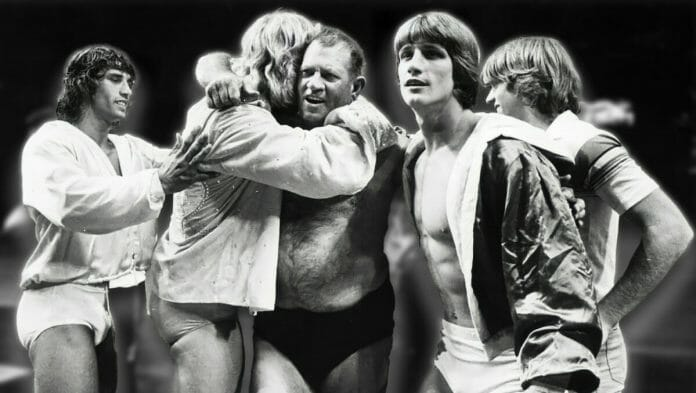 The Von Erichs: Father Fritz with sons Kevin, David, Michael, Chris, and Kerry. Kevin Von Erich is second from right. [Photo: Jan Sonnemair/The Dallas Morning News]