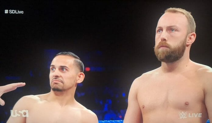 Colin Delaney, right, looking a lot older than his previous time in WWE before battling an old foe, Luke Harper!