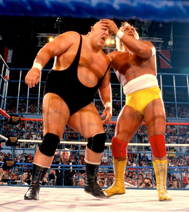 Hulk Hogan and King Kong Bundy go to war in the main event of WrestleMania 2. This was the first steel cage match in WrestleMania history.