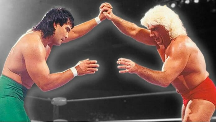 Ricky Steamboat and Ric Flair lock-up at Chi-Town Rumble, February 20th, 1989.