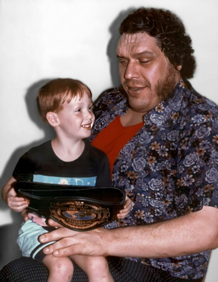André the Giant with Daniel, the son of Percy Pringle (Paul Bearer).