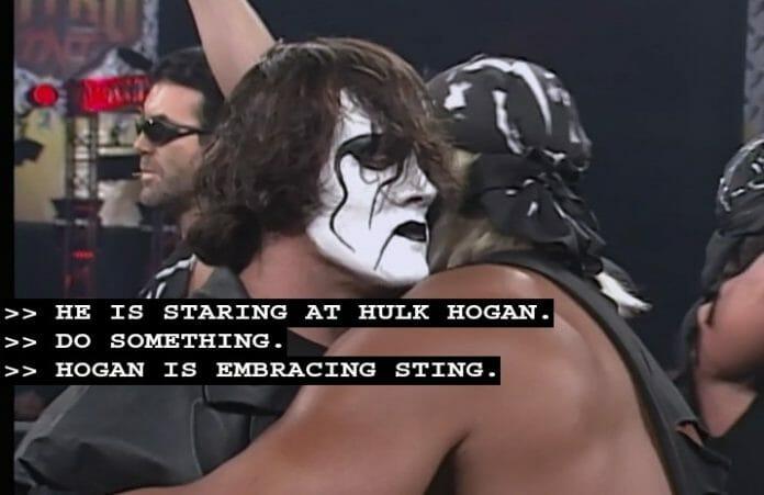 Hulk Hogan and Sting embrace on WCW Monday Nitro, February 24, 1997.