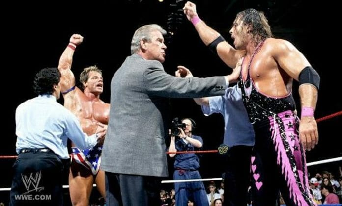 WWF agents disagree over whether it was Lex Luger or Bret Hart who was victorious at the culmination of 1994's Royal Rumble pay-per-view.