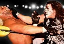 Sting attacks nWo's Hollywood Hulk Hogan at WCW Starrcade, December 28, 1997.