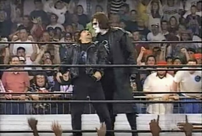 Sting grabs ahold of Eric Bischoff on WCW Monday Nitro, May 19, 1997.