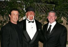 Sylvester Stallone, Hulk Hogan and Vince McMahon at the 2005 WWE Hall of Fame.