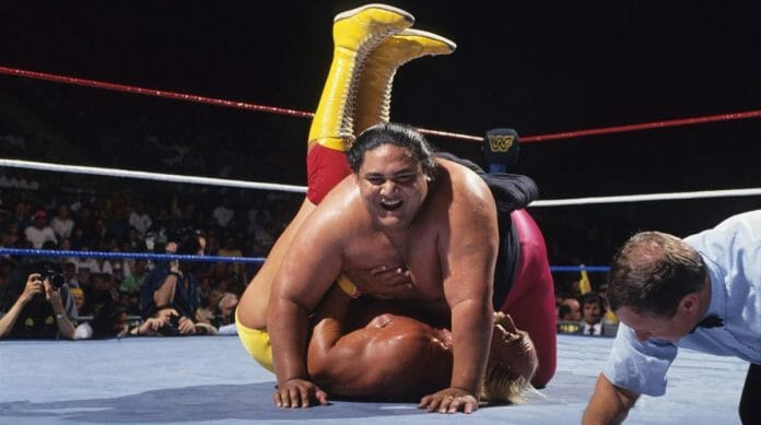 'We ended Hulkamania!' Rodney Anoa'i (Yokozuna) pins Hulk Hogan to re-capture the WWF World Heavyweight Championship on June 13, 1993's King of the Ring pay-per-view.