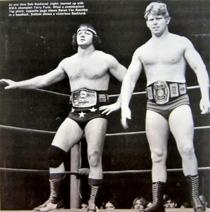 Terry Funk may have salvaged the career of Bob Backlund after extending a helping hand and offering an opportunity in Amarillo, Texas. Here, Terry Funk and Bob Backlund are seen with the NWA World and Missouri Heavyweight Championships respectively.