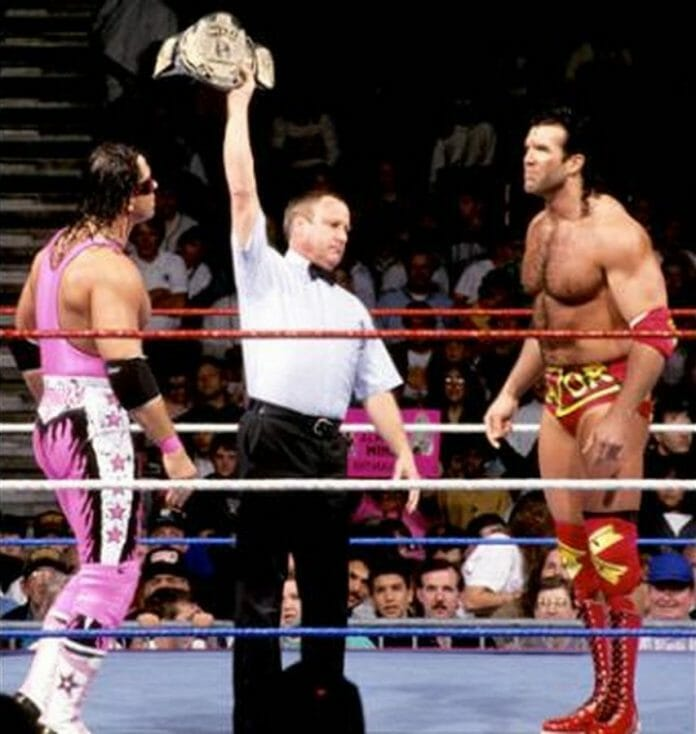 Bret 'Hitman' Hart faces off against Razor Ramon for the WWF World Heavyweight Championship at the 1993 Royal Rumble.