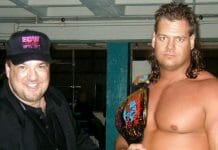Paul Heyman and Mike Awesome backstage in ECW.