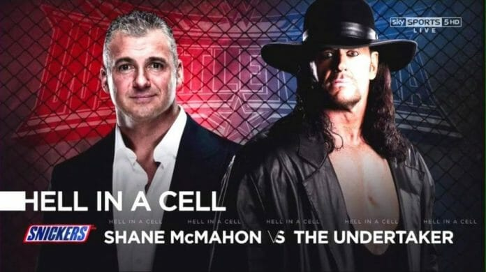 Match card graphic for The Undertaker's latest Hell in a Cell appearance, versus Shane McMahon at WrestleMania 32.