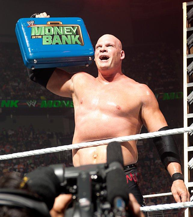 Kane with the Money in the Bank briefcase prior to successfully cashing in. [