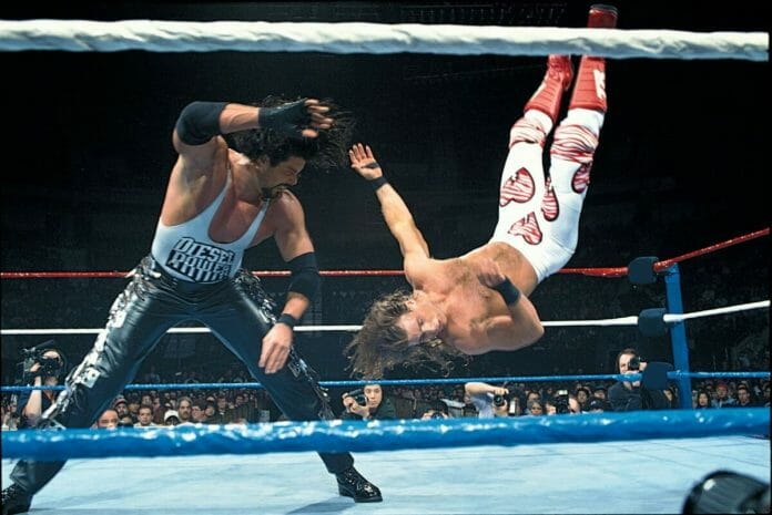 Diesel takes Shawn Michaels for a ride at WrestleMania 11, April 2nd, 1995.