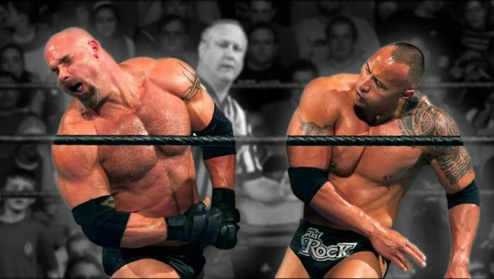 The Rock layeth the smacketh down on Goldberg at WWE Backlash 2003.