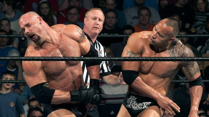 The Rock layeth the smacketh down on Goldberg at WWE Backlash 2003.