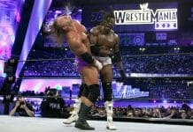 Booker T lays it in on Triple H at WrestleMania 19 on March 30, 2003, in Seattle, Washington's Safeco Field.