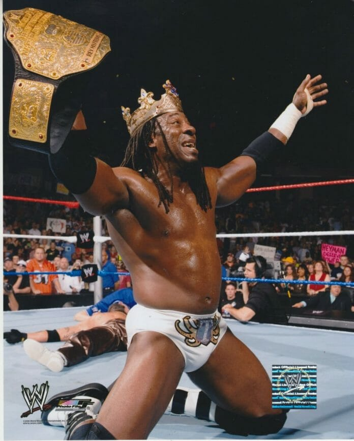 King Booker celebrates his long-anticipated world championship victory.