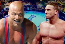 "The 1996 Olympic gold medallist and multi-time WWE and TNA world champion Kurt Angle versus ""The World's Most Dangerous Man"" Ken Shamrock was discussed on several occasions, but unfortunately never came to fruition. Shamrock explains why. [design: JP Zarka / ProWrestlingStories.com]"