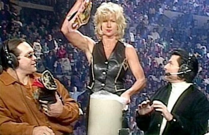 Madusa dumps the WWF Women's Championship into the trash live on WCW television — a moment she would later regret.