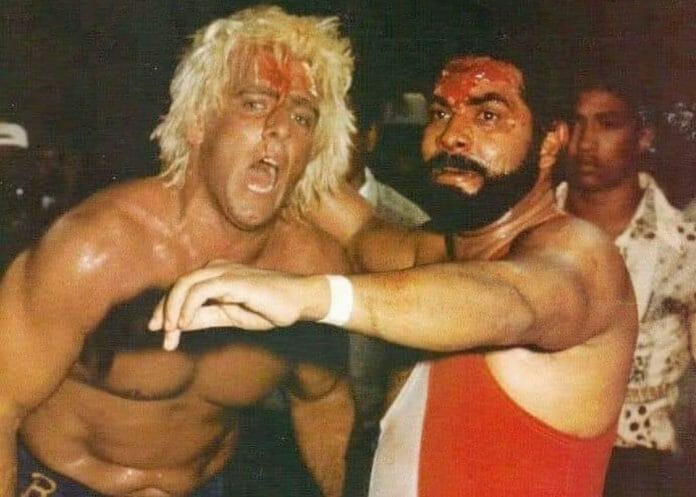 Ric Flair and Jack Veneno during their controversial match in 1982.