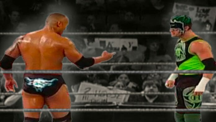 The Rock and The Hurricane moments before their clash on Monday Night Raw, March 23rd, 2003.