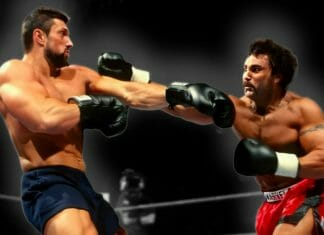 Steve Blackman and Marc Mero slug it out during their Brawl For All bout.