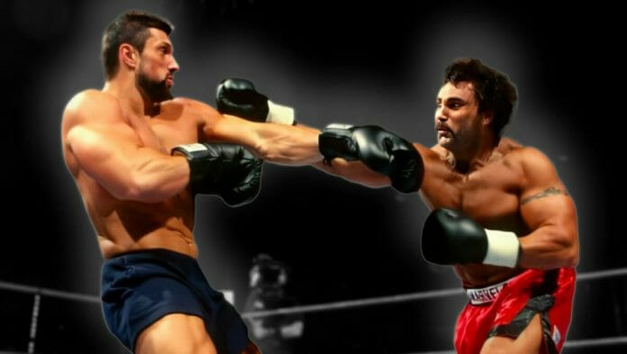Steve Blackman and Marc Mero exchange blows during the WWE Brawl For All bout in 1998.