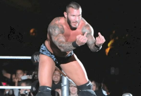 Randy Orton flips off the hopeful future WWE star, Jozi.