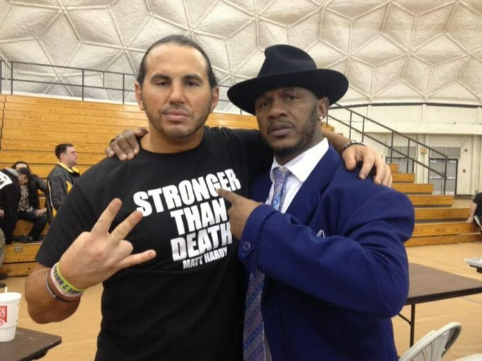 Matt Hardy and New Jack before Extreme Rising: Remember November show; Hardy wearing a prescient t-shirt.